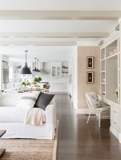 White Living and Kitchen Space via Raquel Langworthy