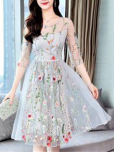 574d2080ded Midi Dress A-line Party Dress Half Sleeve Casual Embroidered Floral Dress