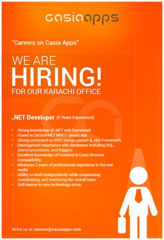 Career Apply for the jobs and build your career in Casia Apps Net Framework, We Are Hiring, Team Player, Languages, A Team, Digital Marketing, Pattern Design, Software