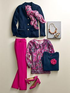 Fall into winter in pretty pinks and paisley. The shot of unexpected color and patterns enlivens the chic navy. Accessorize the looks with statement jewelry and a patterned scarf to take you effortlessly through the season in style. Over 50 Womens Fashion, Fashion Over 50, Look Fashion, Fashion Outfits, Fashion Design, Fashion Trends, Fashion Women, Feminine Fashion, Cheap Fashion