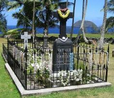 Father Damien deVeuter who arrived at Kalaupapa in 1873 and lovingly served the leprosy patients for 16 years until his death from the disease in 1889.  He was canonized a saint on Oct. 12, 2009, by Pope Benedict XVI and is buried in the graveyard adjoining St. Philomena's Catholic Church.