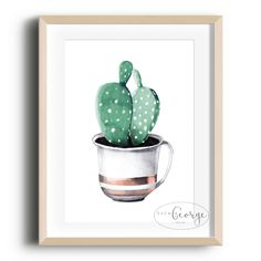 Lola & George - Cup of Cactus Print Printed on quality silk card. Available in or size. Unframed - any frames and/or additional items shown in product photos not included A3 Size, Cactus Print, Plant Decor, A5, Frames, Silk, Printed, Cards, Photos