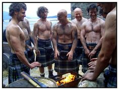 kilts around the fire- this is like a dream come true for me. Can you imagine being surrounded by hunky guys in kilts without their shirts on? I can!!!!