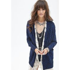 Forever 21 Women's  Marled Shawl Collar Cardigan ($14) ❤ liked on Polyvore featuring tops, cardigans, lightweight open front cardigan, lightweight cardigan, long sleeve open front cardigan, evening tops and shawl collar cardigan