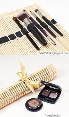 DIY make-up brush holder from a sushi mat   |   How to make a brush organizer by…