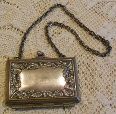 Antique Silverplate Victorian Edwardian Calling Card Chatelaine Case Purse