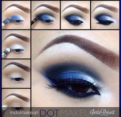 12 Chic Blue Eye Makeup Looks and Tutorials Blue and White Eye Makeup Tutorial – Das schönste Make-up Eye Makeup Blue, Makeup For Brown Eyes, Smokey Eye Makeup, Silver Makeup, Glitter Makeup, Glitter Eye, Silver Eyeshadow, Blue Eyeshadow Looks, Blue Smokey Eye