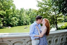 Classic, romantic engagement photoshoot on the Bow Bridge in Central park, NYC. Photographed by Steadfast Studio.