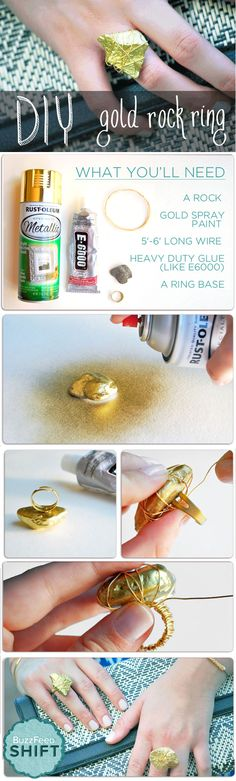 DIY gold rock ring This would be AMAZING to do with our heart-rock collection.