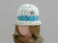 Sal Ballin White and Turquoise Hat with Brooch, Floral Bucket Hat, Vintage Aqua Blue, Green and White Cloche