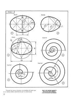 Arco y tangencias - Top-Trends Geometric Shapes Art, Geometric Drawing, Geometric Designs, Autocad Isometric Drawing, Geometry Formulas, Sacred Geometry Symbols, Bild Tattoos, Drawing Exercises, Math Art
