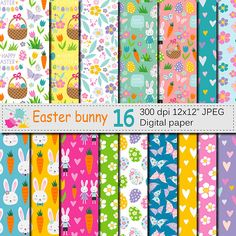 Easter Bunny Digital Paper, Bright Easter Seamless Patterns with bunnies, flowers and Easter eggs, Download