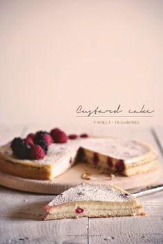 Vanilla Raspberry Custard Cake Recipe by Mon petit bistrot