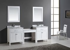 Buy the Design Element White Direct. Shop for the Design Element White London Free Standing Vanity Set with Marble Top, Two Undermount Sinks, Two Matching Mirrors and Make-Up Table and save. Corner Bathroom Vanity, Single Sink Vanity, Vanity Set With Mirror, Wood Vanity, Vanity Sink, Master Bathroom, Bathroom Vanities, Single Vanities, Vanity Units