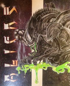 Aliens. Airbrush painting by Fernando Reyes 26 years ago  graphic design project for George Brown college. www.reyesglass.com