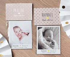 Faire-part : magnets Photo Polaroid, Baby Invitations, Photo Magnets, Christmas Deco, Future Baby, Paper Design, Baby Photos, Baby Love, More Fun