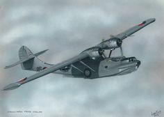 De PBY-5A Catalina vliegboot (amfibie) werd gebruikt vanaf de waterbasis Sorido te Biak 1953-1957, een eiland in Nederlands Nieuw Guinea. Het werd gebruikt als patrouille vliegtuig en voor transport en reddingsvluchten. 30 x 40, © 2014, prijs op aanvraag Tweedimensionaal   Schilderkunst   Alkydverf Ww2 Planes, Bullshit, Airplanes, World War, Air Force, Boats, Fighter Jets, Aviation, Aircraft