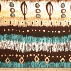 Rayon Challis Abstract Brown/White/Turquoise from @fabricdotcom  This rayon fabric has a beautiful fluid drape and soft hand. It is perfect for creating shirts, blouses, gathered skirts and flowing dresses with a lining. Colors includeyellow, white, tan, and brown.