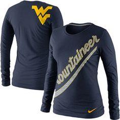Nike West Virginia Mountaineers Ladies Angled Script Long Sleeve T-Shirt - Navy Blue