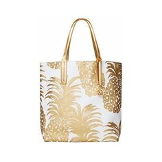 (2) Pineapple gold tote bag | Gold | Pinterest via Polyvore featuring bags, handbags, tote bags, pineapple purse, white tote, gold tote bag, handbags tote bags and handbags totes