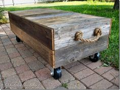Weathered fence boards = rolling outdoor coffee table