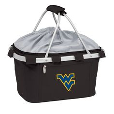 West Virginia Mountaineers Insulated Picnic Basket, Black
