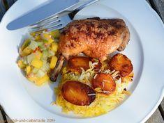 Persischer Kartoffelreis mit scharfem Huhn und Mango-Gurkensalat
