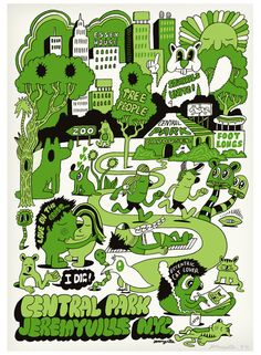 """Central Park"" by Jeremyville. Screen print. Edition of 100. $120 at http://jeremyville.com"
