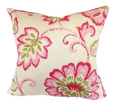 "This Thibaut Pink Floral Ikat Alexa Decorative Pillow Cover is a Stunning Modern Throw Pillow, that Presents the ..""ALEXA PINK"".. Print Designer Pattern, From the Jubilee Collection.  This Pattern Features a Large Scale Floral Ikat Design in Colors of Light and Dark Pinks, Green and Cream, Against a Cream Background, with a Solid Pink Back"