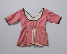 Nederlands Openluchtmuseum  Hand sewn lapped jacket of patterned cotton. The bodice and sleeves are lined with plain cotton.