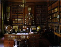English Country House Libraries- the library at Erddig House in Wales, created in from unsere-reisen-in-England.de via Beautiful Libraries Library Study Room, Dream Library, Study Office, Beautiful Library, Personal Library, Home Libraries, House Design, Design Design, Decoration