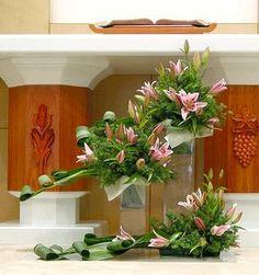 Leaf Manipulation and Lilies Altar Flowers, Church Flower Arrangements, Church Flowers, Beautiful Flower Arrangements, Funeral Flowers, Table Flowers, Flower Centerpieces, Floral Arrangements, Beautiful Flowers