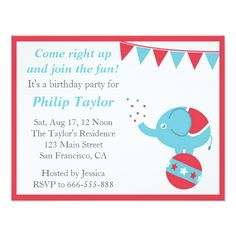 Circus Themed Birthday Party with Cute Elephant Card