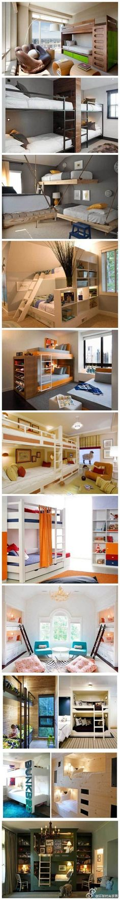 Ideas for double beds (or more) in one room. Casa Kids, Bunk Bed Designs, Double Beds, Double Deck Bed, Cool Diy Projects, Bunk Beds, Bunk Rooms, Bedrooms, Loft Beds