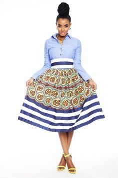 Kaela Kay New Arrivals, Essie Millie Striped Skirt African Inspired Fashion, African Print Fashion, Fashion Prints, African Prints, African Fabric, African Wear, African Attire, African Dress, African Style