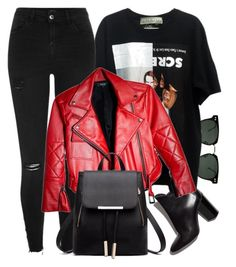 """Red Leather"" by monmondefou ❤ liked on Polyvore featuring Spitfire, Pierre Hardy, River Island, black and red"