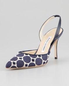 Carolyne Embroidered High-Heel Halter Pump by Manolo Blahnik at Neiman Marcus. Stilettos, Pumps, Stiletto Heels, High Heels, Pretty Shoes, Beautiful Shoes, Cute Shoes, Me Too Shoes, Manolo Blahnik Schuhe