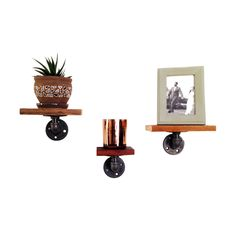 These beautiful shelves are ideal for displaying your favorite pictures and other small valuables. Made from reclaimed wood and industrial piping, they create a unique point of interest in any room.  Find the Charlie Wall Shelves - Set of 3, as seen in the The Gentleman's Guide to Dapper Loft Living Collection at http://dotandbo.com/collections/the-gentlemens-guide-to-dapper-loft-living?utm_source=pinterest&utm_medium=organic&db_sku=RCP0004
