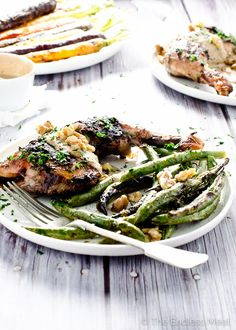 Grilled Mustard Chicken with Creamy Walnut Sauce plated beautifully by The Endless Meal.