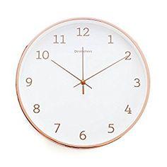 "Amazon.com: Luxury Modern 12"" Silent Non-Ticking Wall Clock with Rose Gold Frame (Feminine White): Home & Kitchen"