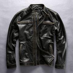 Men/'s Caf/é Racer GT-R Biker Vintage Stylish Motorcycle Black Real Leather Jacket