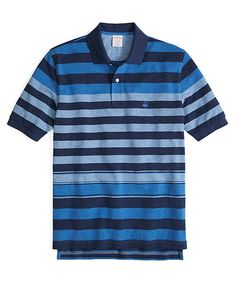 Golden Fleece® Original Fit Tonal Heather Multistripe Polo Blue Multi