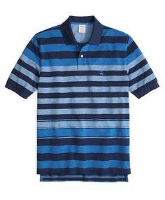 Golden Fleece® Original Fit Tonal Heather Multistripe Polo Blue Multi