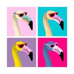 Flamingo Illustrated Acrylic Tray by Simone Gatterwe 3 - Medium 15 x Flamingo Illustration, Illustration Art, Retro Kunst, Retro Art, Flamingo Logo, Pop Art Artists, Cute Little Drawings, Caribbean Art, Cute Patterns Wallpaper