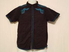 Black Jack Cotton Shirt Short Sleeve Black/Blue Men's Button Up Large (14/16) #BlackJack #Everyday