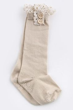 TODDLER KNEE HIGH SOCKS WITH LACE -Khaki