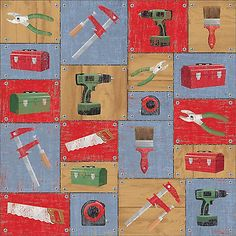 Karen Foster DIY TOOLS 12x12 Scrapbooking (2)PCS Paper REPAIR CONSTRUCTION