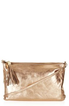 Topshop 'Metallic Crackle' Zip Top Clutch