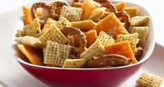 My favorite Chex Mix - Cheesy Ranch, but with Bugles and sometimes Fritos or Wheat Thins or Multi-Grain Club Minis today.