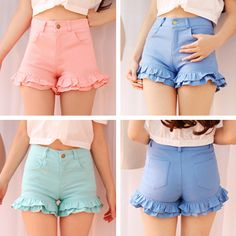 "Sweet lotus leaf edge shorts  Coupon code ""cutekawaii"" for 10% off"